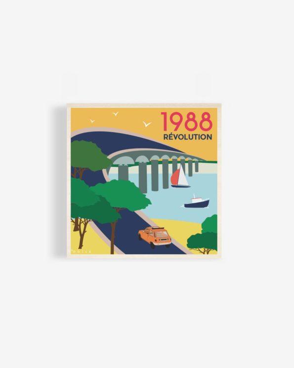 Affiche en bois pont de l'ile de ré 1988 30x30cm