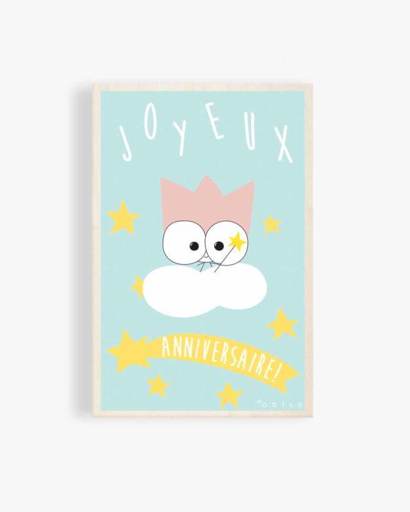 Carte postale en bois joyeux anniversaire