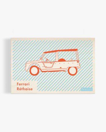 carte postale en bois ferrari réthaise rétaise méhari ile de ré création originale made in France