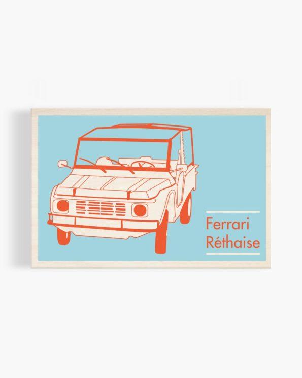 Carte postale en bois Ferrari réthaise