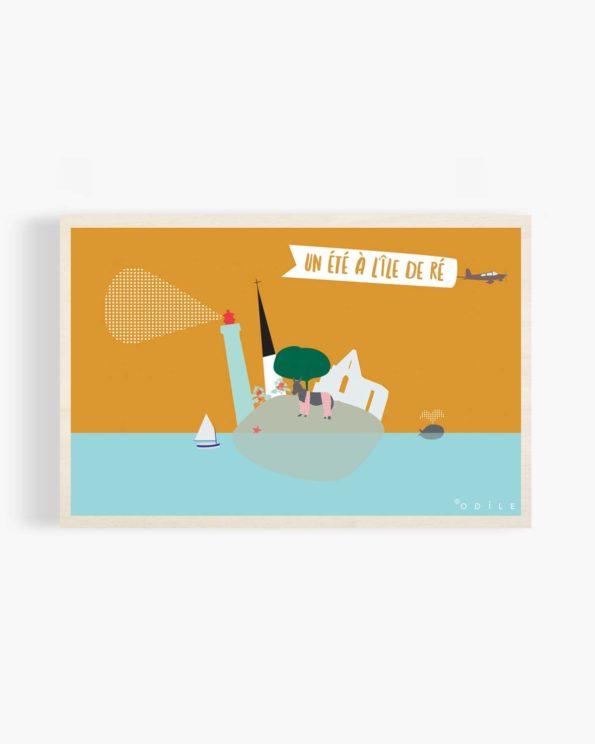 Carte postale en bois un été à l'ile de ré
