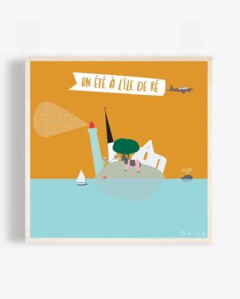 ile-de-ré-design-original-illustration-affiche-bois-vacances-phare-des-baleines-clocher-ars-abbaye-chateliers-ane-culotte-poster-bois-odilederé-odile-odîle-odilederey