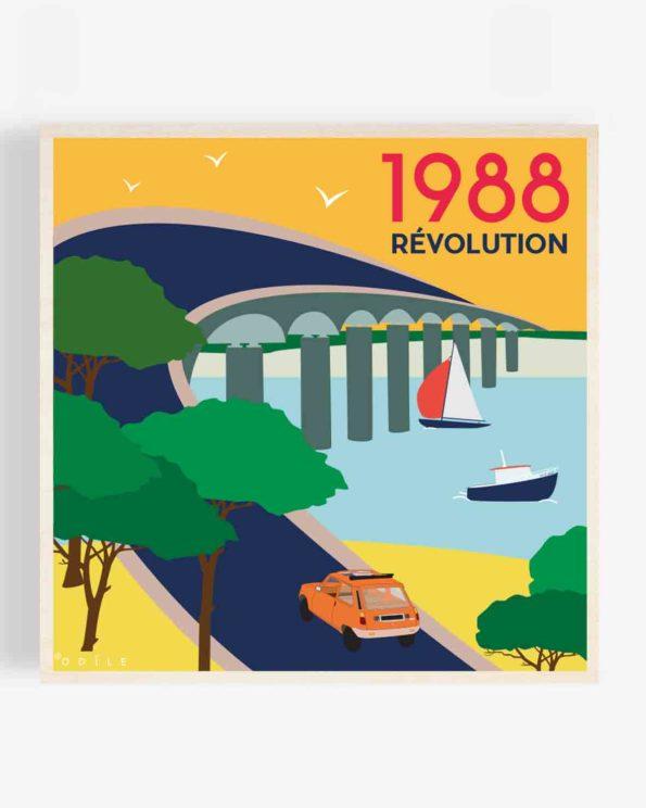 Affiche en bois pont de l'ile de ré 1988 40x40cm