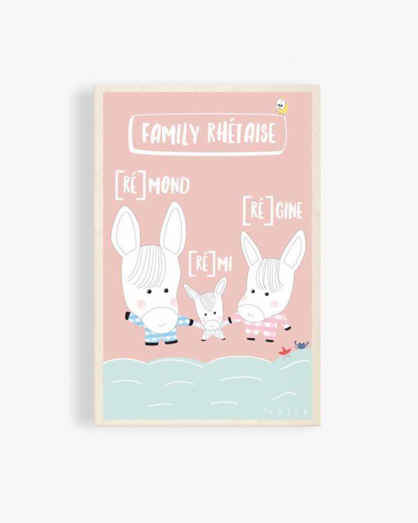 Carte postale en bois Family rhétaise