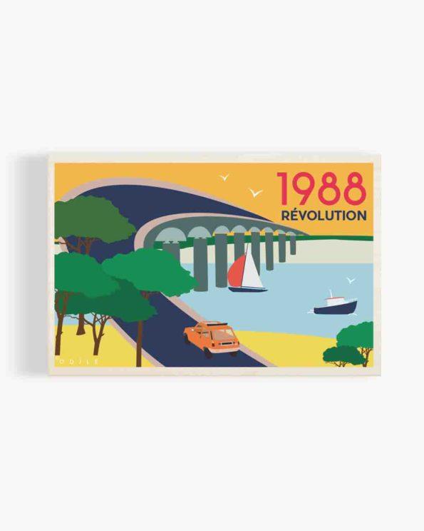 Carte postale en bois pont de l'ile de ré 1988