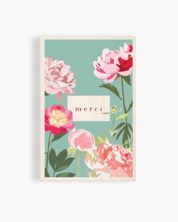 carte postale en bois jungle pivoine fleurs fleuri couleurs printemps remerciements merci odîle odile de ré ile de re