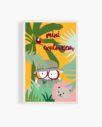 carte postale en bois mini explorateur jungle toucan lion rose vert jaune bleu feuilles