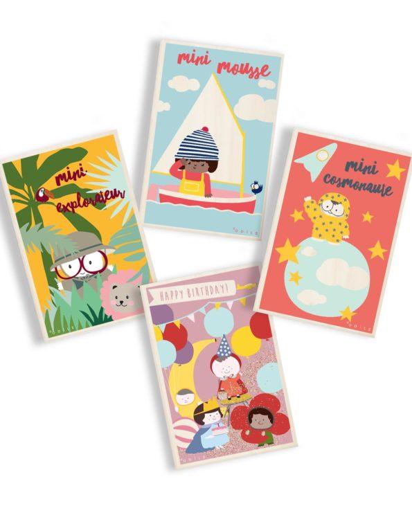 4 cartes postales en bois au choix