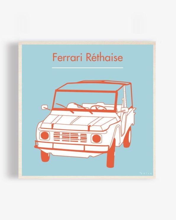 Affiche en bois Ferrari réthaise bleue 40x40cm