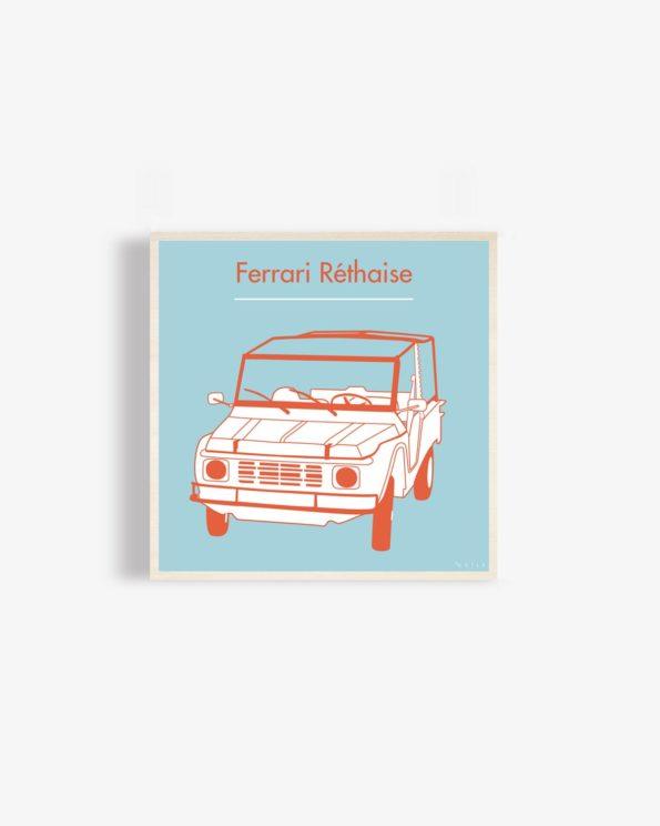 Affiche en bois Ferrari réthaise bleue 30x30cm