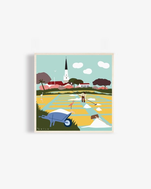 Affiche en bois ile de ré marais salants clocher d'Ars 30x30cm