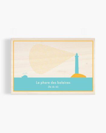 carte postale en bois phare des baleines ile de ré création originale made in France