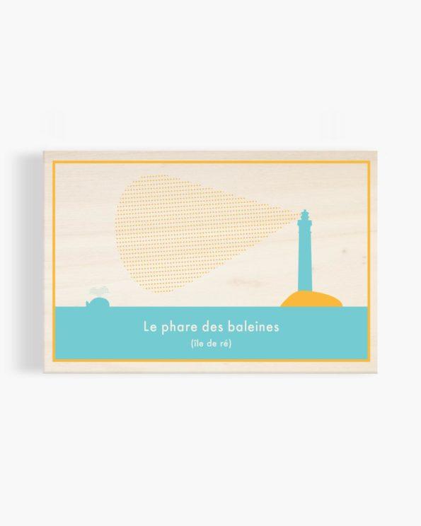Carte postale en bois Phare des baleines