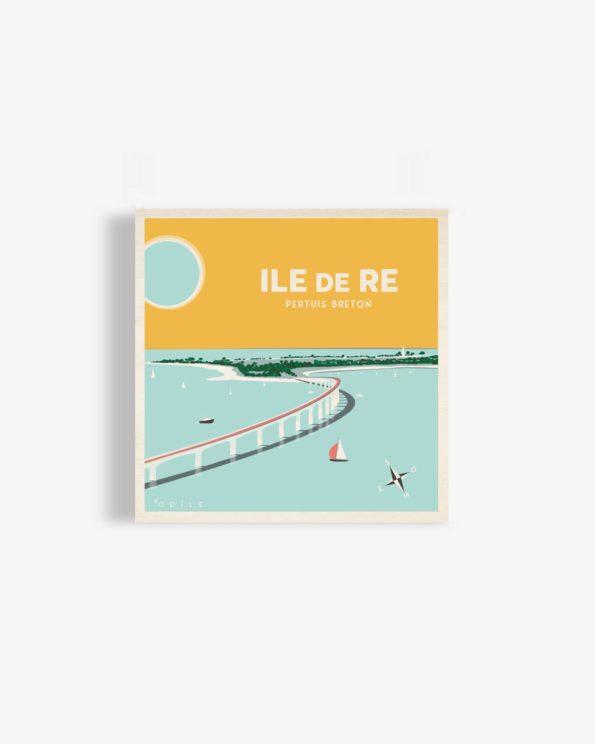 Affiche en bois ile de ré Pertuis Breton 30x30cm