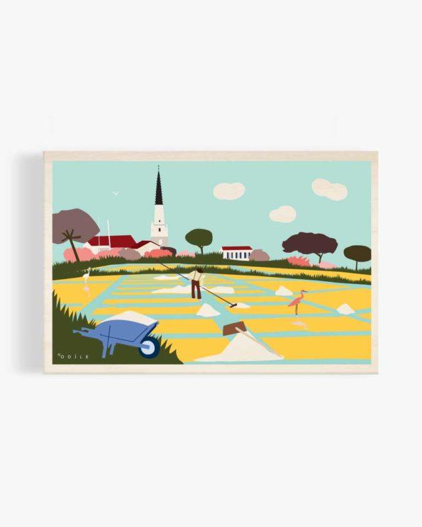Carte postale en bois marais salants ile de ré clocher d'Ars