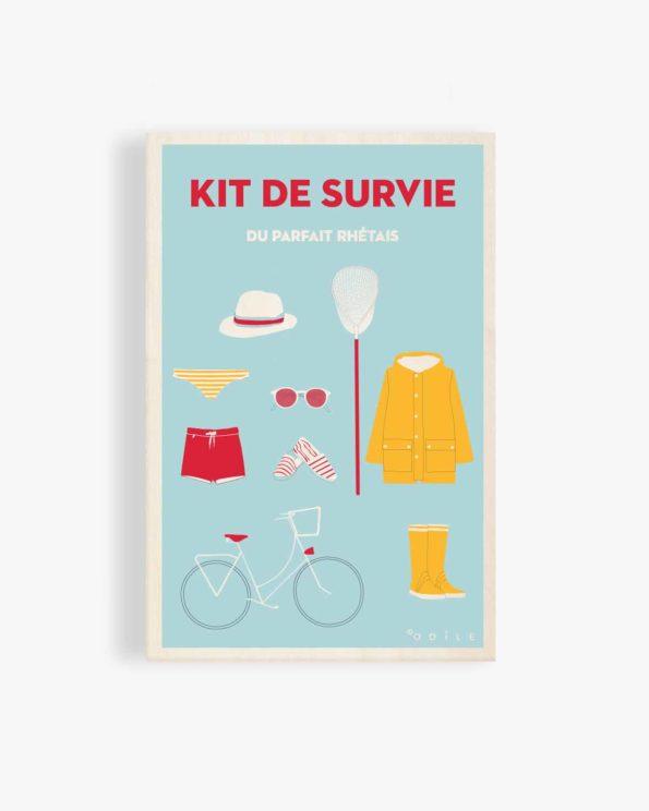 Carte postale en bois Kit de survie du parfait rhétais