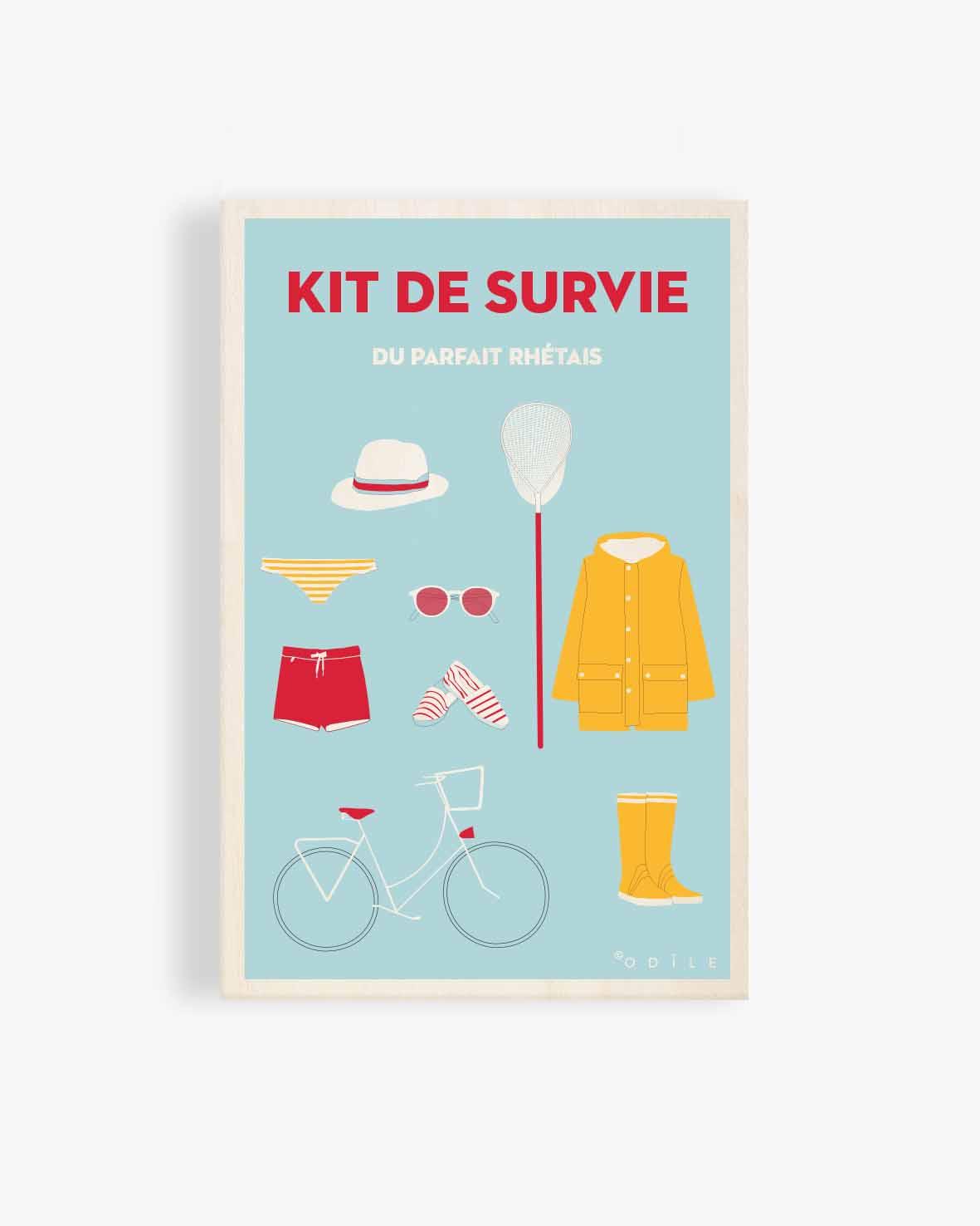 Carte postale en bois Kit de survie pour des vacances réussies à l'ile de ré