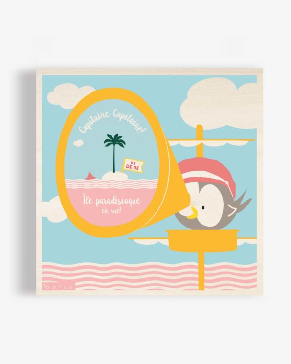 Affiche en bois île de ré île paradisiaque en vue! 40×40 cm