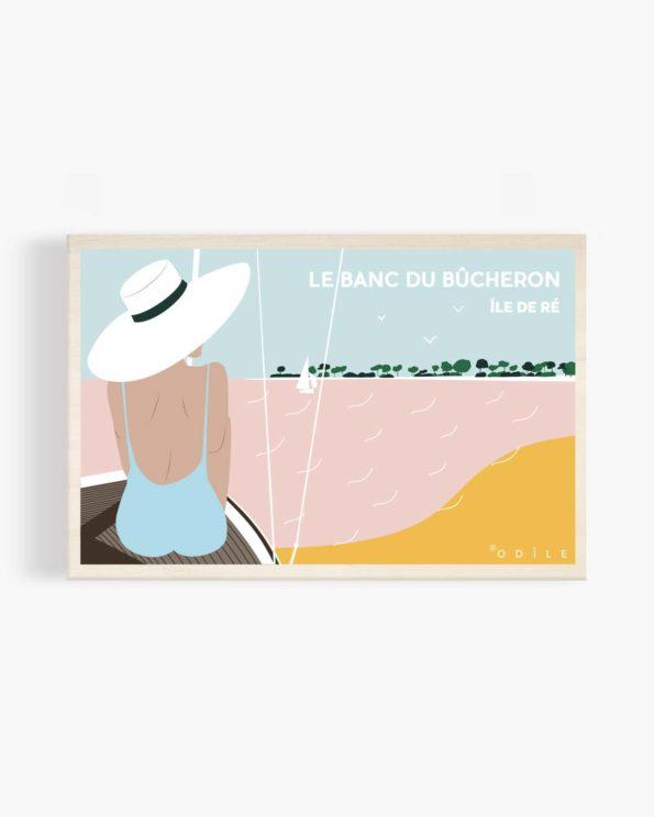 Carte postale en bois le banc du bûcheron île de ré
