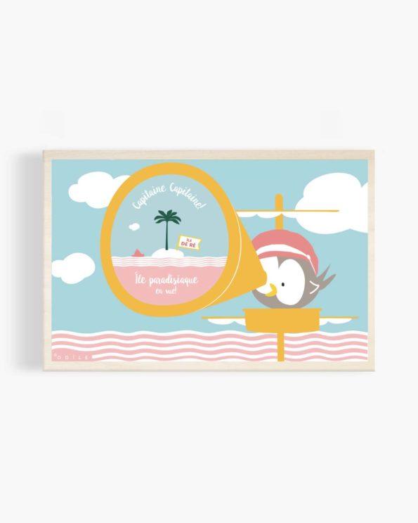 Carte postale en bois île paradisiaque en vue!