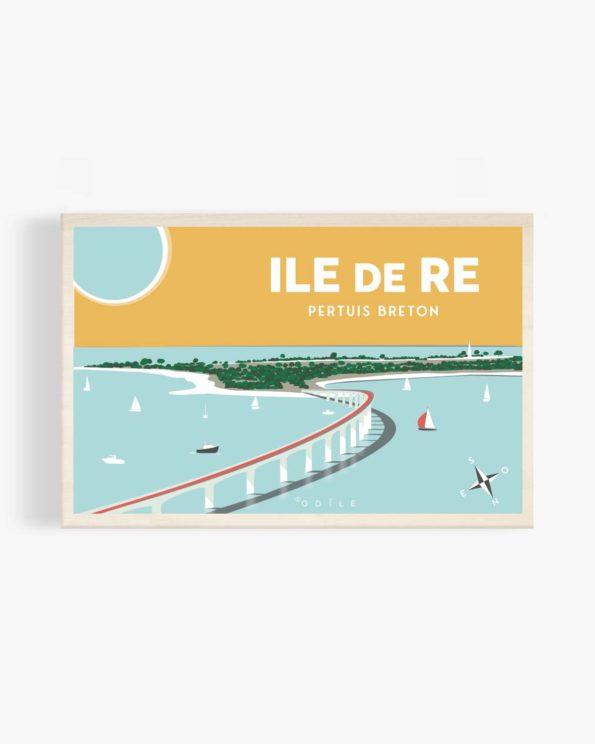 Carte postale en bois île de ré Pertuis Breton