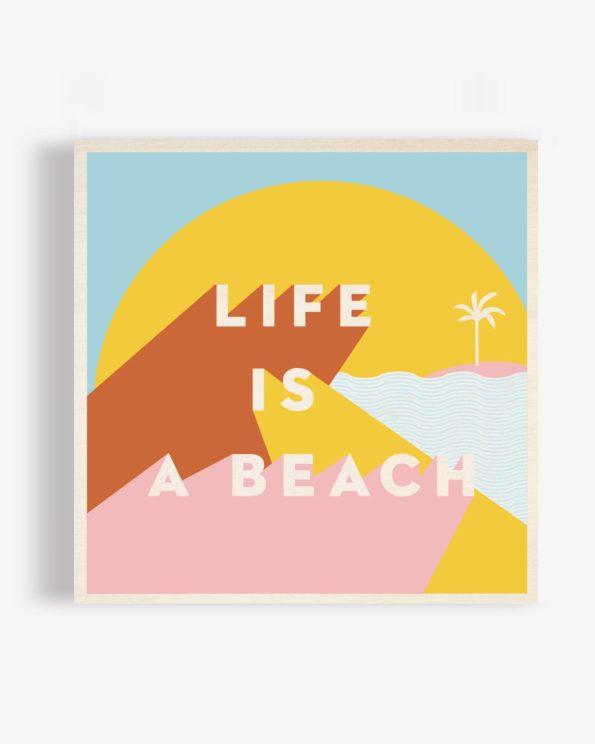 Affiche ile de ré en bois Life is a beach 40x40cm