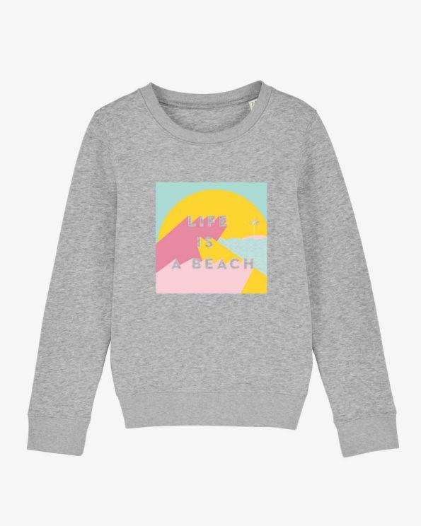 Sweat-shirt île de ré Life is a beach enfant en Coton bio