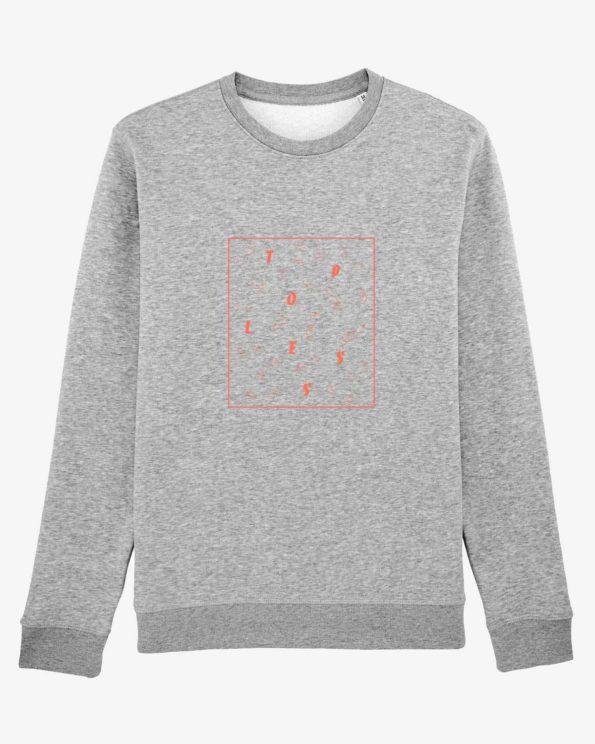 Sweat-shirt île de ré Topless orange fluo en Coton bio unisexe