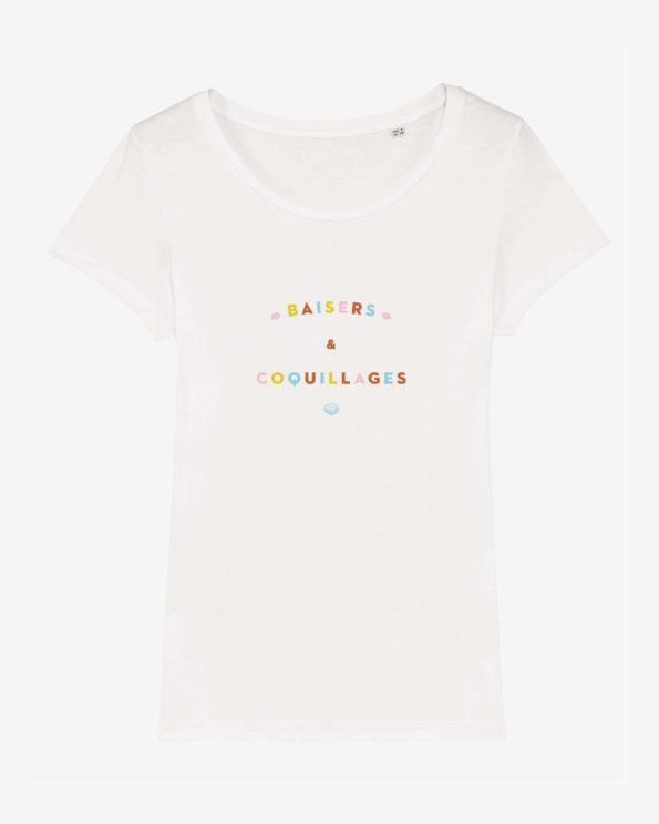 T-shirt ile de ré en coton bio baisers et coquillages