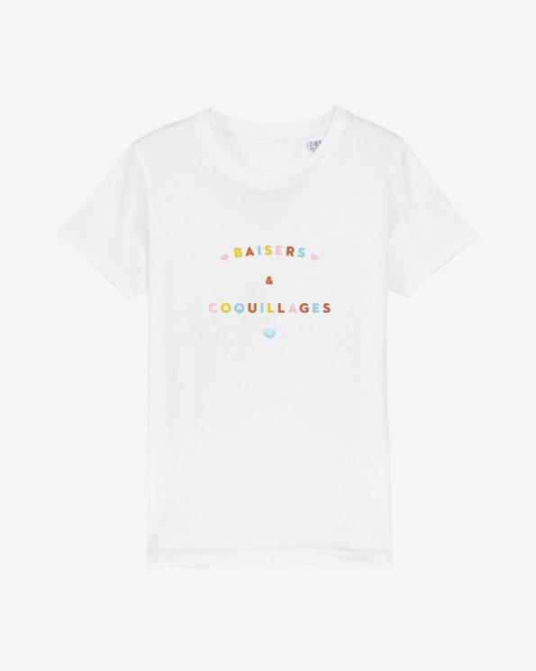 T-shirt enfant ile de ré en coton bio baisers et coquillages