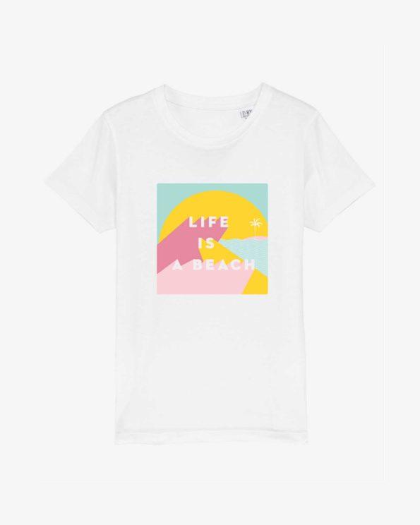 T-shirt enfant ile de ré en coton bio Life is a beach