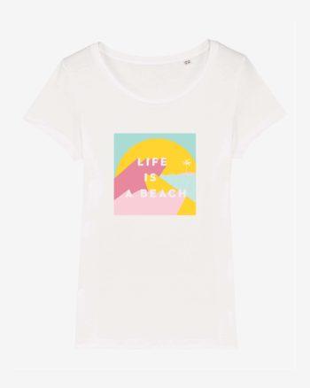 t shirt ile de ré en coton bio life is a beach illustration originale