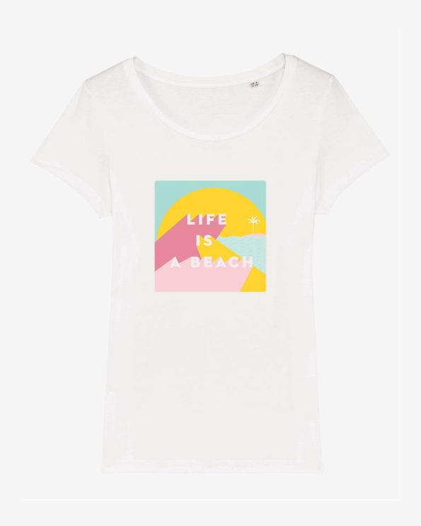 T-shirt ile de ré en coton bio Life is a beach femme